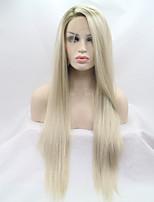 Недорогие -Синтетические кружевные передние парики Естественные прямые Золотистый Стрижка каскад 130% Человека Плотность волос Искусственные волосы 26 дюймовый Женский Золотистый Парик Жен. Средняя длина / Да