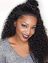 Недорогие -Необработанные 360 Лобовой Парик Бразильские волосы Kinky Curly Парик Глубокое разделение 150% Плотность волос Горячая распродажа Толстые Черный Жен. Длинные