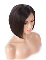 Недорогие -человеческие волосы Remy Полностью ленточные Лента спереди Парик Бразильские волосы Прямой Черный Парик Ассиметричная стрижка 130% 150% 180% Плотность волос Женский Легко туалетный Sexy Lady