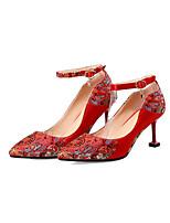 baratos -Mulheres Sintéticos Primavera Verão Doce / Temática Asiática Sapatos De Casamento Salto Sabrina Dedo Apontado Vermelho / Festas & Noite