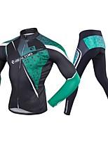 Недорогие -Realtoo Длинный рукав Велокофты и лосины - Зеленый / черный Велоспорт Спандекс Классика / Слабоэластичная