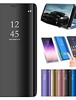 Недорогие -Кейс для Назначение Apple iPhone XS / iPhone XS Max со стендом / Покрытие / Зеркальная поверхность Чехол Однотонный Твердый Кожа PU для iPhone XS / iPhone XR / iPhone XS Max