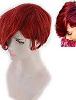 abordables -Perruque Synthétique Boucle lâche Coupe Asymétrique Perruque Court Rouge Cheveux Synthétiques 5 pouce Femme Meilleure qualité Rouge