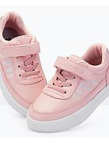 Недорогие -Девочки Обувь Кожа Весна & осень Удобная обувь Кеды На липучках для Дети Белый / Розовый