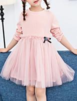 Недорогие -Дети (1-4 лет) Девочки Однотонный Длинный рукав Платье
