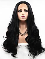 Недорогие -Синтетические кружевные передние парики Естественные кудри Стрижка каскад 130% Человека Плотность волос Искусственные волосы 26 дюймовый Женский Черный Парик Жен. Средняя длина Лента спереди Черный