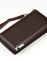 baratos -Sacos de homem zíper de embreagem de couro preto / café