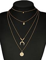 Недорогие -Жен. Многослойность Ожерелья с подвесками - Золотой 60.0  * 60.0  * 2.5 cm Ожерелье Бижутерия 1шт Назначение Свадьба, На выход