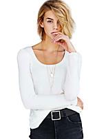 Недорогие -женская спортивная хлопчатобумажная тощая футболка - сплошной цветной шею