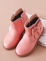 Недорогие -Девочки Обувь Кожа Зима Армейские ботинки Ботинки Молнии для Дети Черный / Красный / Розовый