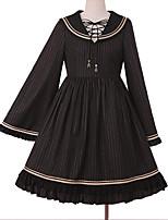 baratos -Doce Casual Lolita Dress Doce Elegante Feminino Vestidos Cosplay Preto / Vermelho Manga Alargamento Manga Longa Até os Joelhos Fantasias