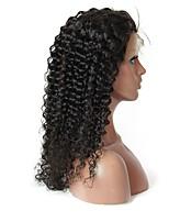 Недорогие -Не подвергавшиеся окрашиванию человеческие волосы Remy Полностью ленточные Парик Бразильские волосы Мелкие кудри Парик Стрижка каскад Средняя часть Боковая часть 180% Плотность волос