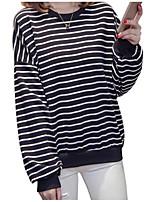 Недорогие -женская хлопковая свободная футболка - полосатая шея