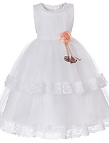 Недорогие -Дети Девочки Милая Повседневные Однотонный Без рукавов Платье Красный 150