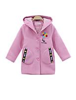 Недорогие -Дети Девочки Классический Однотонный Длинный рукав Полиэстер Куртка / пальто Красный 140