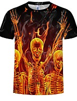 abordables -Inspiré par Cosplay Cosplay Manga Costumes de Cosplay Cosplay T-shirt Crânes Cool / Ange et Diable / Os Manches Courtes Tee-shirt Pour Homme Déguisement d'Halloween