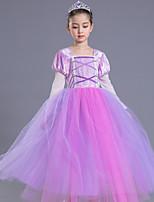 abordables -Princesse Rétro Costume Fille Enfant Robes Costume de Soirée Violet Vintage Cosplay Polyester Sans Manches Tee-shirt