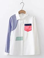 Недорогие -женская хлопчатобумажная кофточка - цветная рубашка с воротником