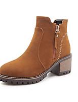 Недорогие -Жен. Замша Наступила зима На каждый день / Минимализм Ботинки На толстом каблуке Круглый носок Ботинки Черный / Серый / Желтый