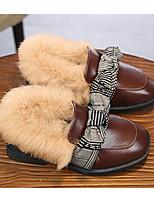 Недорогие -Девочки Обувь Кожа Наступила зима Мокасины / Меховая подкладка Мокасины и Свитер Бант для Дети (1-4 лет) Черный / Коричневый