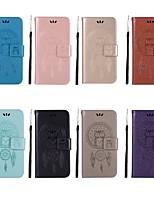 baratos -Capinha Para OnePlus OnePlus 6 / OnePlus 5T Carteira / Porta-Cartão / Com Suporte Capa Proteção Completa Corujas Rígida PU Leather para OnePlus 6 / OnePlus 5T