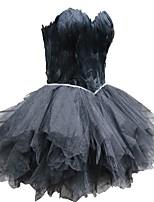 baratos -Cisne Negro Vestidinho Preto Elegante Ocasiões Especiais Mulheres Vestidos Baile de Máscara Preto Vintage Cosplay Tule Pena Sem Manga