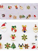 baratos -16 pcs Jóias de Unhas Melhor qualidade Natal Floco de Neve arte de unha Manicure e pedicure Diário Estiloso / Na moda