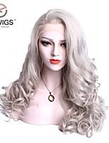 Недорогие -Синтетические кружевные передние парики Жен. Волнистый / Естественные кудри Темно-серый Свободная часть 180% Человека Плотность волос Искусственные волосы 22-26 дюймовый / Лента спереди
