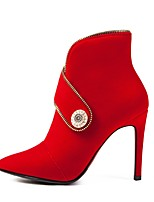 Недорогие -Жен. Синтетика Наступила зима Винтаж / Минимализм Ботинки На шпильке Заостренный носок Ботинки Черный / Красный