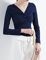 Недорогие -женская хлопчатобумажная футболка - сплошная цветная шея