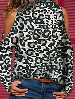 baratos -Mulheres Camiseta Básico Leopardo