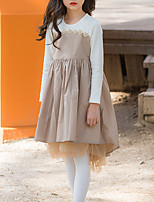 Недорогие -Дети Девочки Классический Однотонный Длинный рукав Ассиметричное Хлопок / Полиэстер Платье Хаки 140