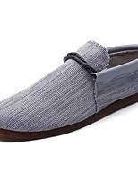 Недорогие -Муж. Комфортная обувь Лён Лето На каждый день Мокасины и Свитер Нескользкий Черный / Бежевый / Серый
