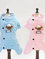 abordables -Chiens / Chats Combinaison-pantalon Vêtements pour Chien Tartan / Toile Bleu / Rose Coton Costume Pour les animaux domestiques Unisexe Animaux / Doux