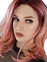 Недорогие -Парики из искусственных волос / Синтетические кружевные передние парики / Маскарадные парики Жен. Волнистый Красный Боковая часть / тесьма Искусственные волосы 35.5 дюймовый / Коричневый