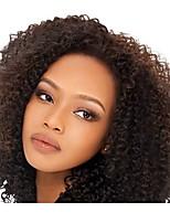 Недорогие -Необработанные натуральные волосы Лента спереди Парик Бразильские волосы Kinky Curly Черный Парик 130% Плотность волос Черный Жен. Парики из натуральных волос на кружевной основе