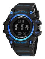 Недорогие -Муж. Спортивные часы Японский Цифровой 30 m Защита от влаги Календарь С двумя часовыми поясами силиконовый Группа Цифровой Мода Черный - Черный Черный / Синий