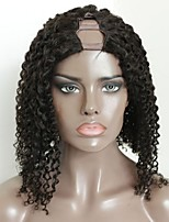 Недорогие -Не подвергавшиеся окрашиванию человеческие волосы Remy U-образный Парик Бразильские волосы Kinky Curly Блондинка Парик Стрижка каскад С конским хвостом 130% Плотность волос / Природные волосы