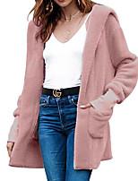 Недорогие -Жен. На выход Классический Обычная Пальто с мехом, Однотонный Капюшон Длинный рукав Полиэстер Розовый / Серый / Хаки M / L / XL