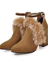 Недорогие -Жен. Замша Наступила зима На каждый день Ботинки На толстом каблуке Заостренный носок Ботинки Черный / Желтый / Розовый / Для вечеринки / ужина