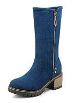 Недорогие -Жен. Деним Наступила зима Ботинки На толстом каблуке Круглый носок Сапоги до середины икры Черный / Синий / Светло-синий