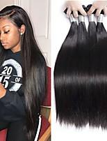 Недорогие -4 Связки Бразильские волосы Малазийские волосы Прямой 8A Натуральные волосы Необработанные натуральные волосы Подарки Косплей Костюмы Головные уборы 8-28 дюймовый Естественный цвет