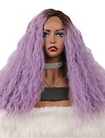 Недорогие -Синтетические кружевные передние парики Жен. Естественные волны Фиолетовый Боковая часть / тесьма / Свободная часть 180% Человека Плотность волос Искусственные волосы 18-20 дюймовый / Лента спереди