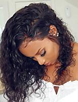 Недорогие -Remy Лента спереди Парик Бразильские волосы Кудрявый Парик 150% Плотность волос с детскими волосами Мягкость Природные волосы Черный Жен. Средняя длина Парики из натуральных волос на кружевной основе