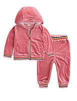 billiga -Bebis Flickor Aktiv Dagligen Randig Långärmad Normal Polyester Klädesset Blå 100 / Småbarn