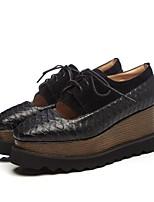 Недорогие -Жен. Комфортная обувь Овчина Весна Кеды Туфли на танкетке Круглый носок Черный / Зеленый