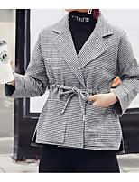 Недорогие -Жен. На выход Обычная Куртка, Однотонный С отворотом Длинный рукав Полиэстер Серый L / XL / XXL
