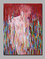 baratos -Pintura a Óleo Pintados à mão - Abstrato / Pessoas Contemprâneo / Modern Incluir moldura interna / Lona Laminada / Lona esticada