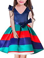 Недорогие -Дети Девочки Классический Полоски С короткими рукавами Платье Красный 110
