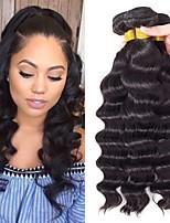 Недорогие -3 Связки Индийские волосы Свободные волны 8A Натуральные волосы Необработанные натуральные волосы Головные уборы Человека ткет Волосы Сувениры для чаепития 8-28 дюймовый Естественный цвет